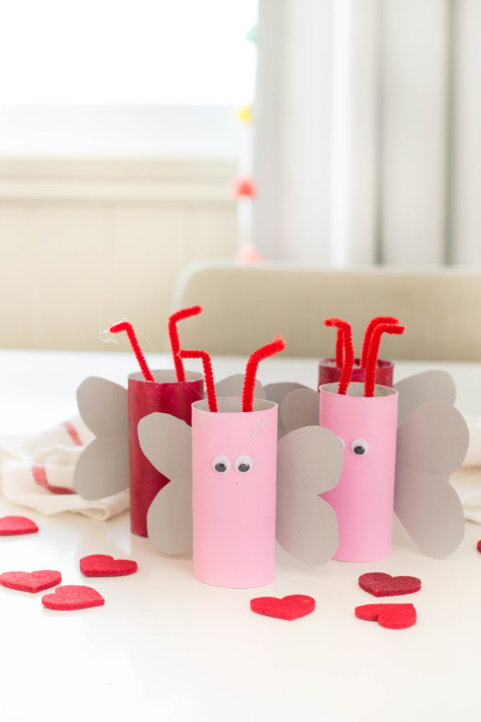 This Valentine's Day toilet paper roll craft is tons of fun to put together with your little one! Plus, it makes for the cutest V-Day decorations - perfect for mantles and book shelves.