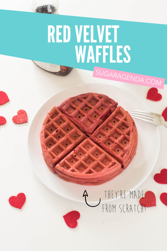 These homemade red velvet waffles are 100% made from scratch - no need for a cake mix! They have a delicious, luscious chocolate kick and are the perfect way to impress your family for Sunday brunch!